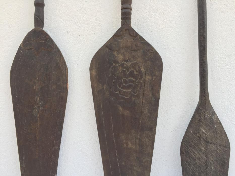 ANTIQUE NATIVE PADDLE x 3 Kayak Water Sport Wall Painting Asian Tribe Lake Boat