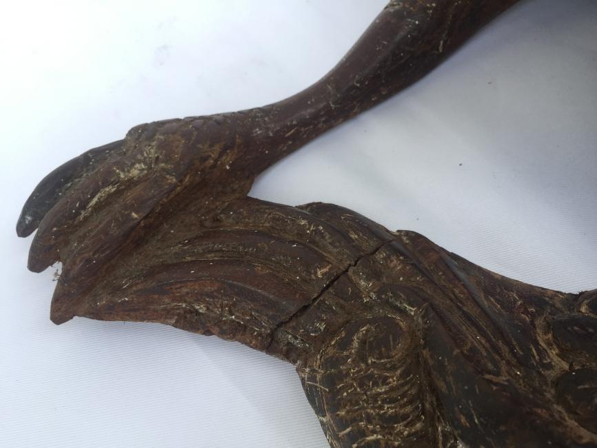 ANTIQUE SCULPTURE 420mm KOI BIRD Ironwood Figure Statue Animal Native Borneo