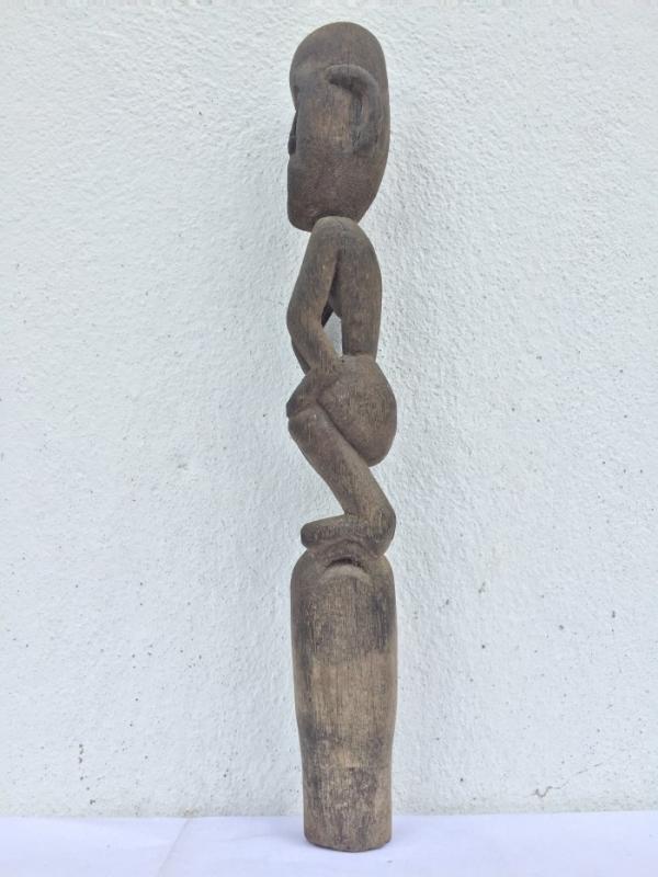 GUARDIAN POLE 410mm ANTIQUE Tribal Statue Handmade Sculpture Dayak Eroded Primitive Figure Borneo