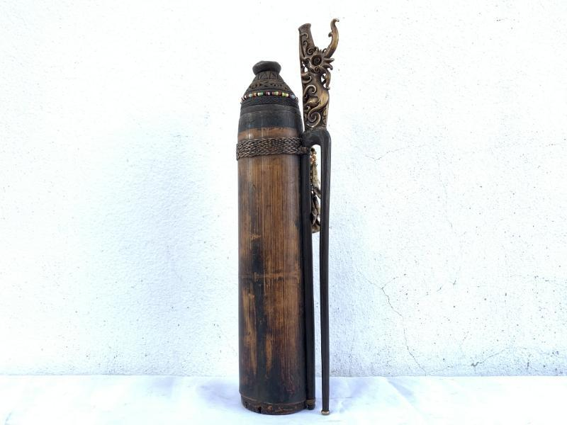 LAND DAYAK VINTAGE 385mm BLOWPIPE QUIVER Darts Hunting Traditional Tribal Borneo Hunter
