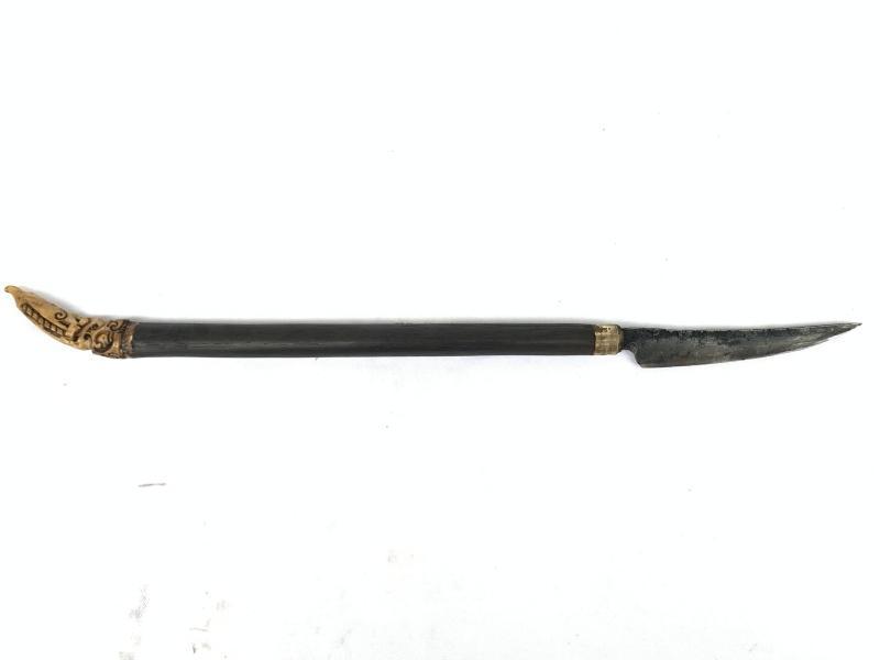 iLANG KNIFE 440mm HEADHUNTER DAYAK Weapon Deer Horn Antler Authentic Old Sword