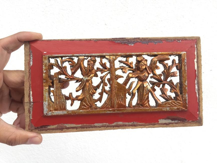 ANTIQUE PROSPEROUS PANEL Wedded Gift Old Chinese Dynasty Statue Famille Rose Sculpture Figure Figurine Wall Deco #3
