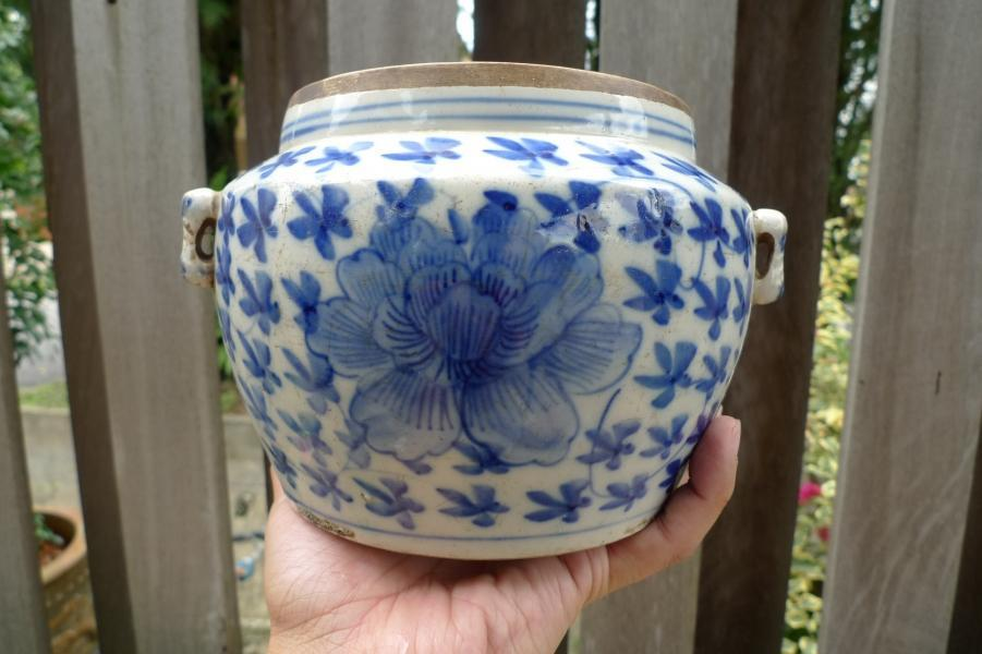 #2 VINTAGE ANTIQUE 175mm WHITE BLUE Sweet Pea KAMCHENG Ching Dynasty Porcelain