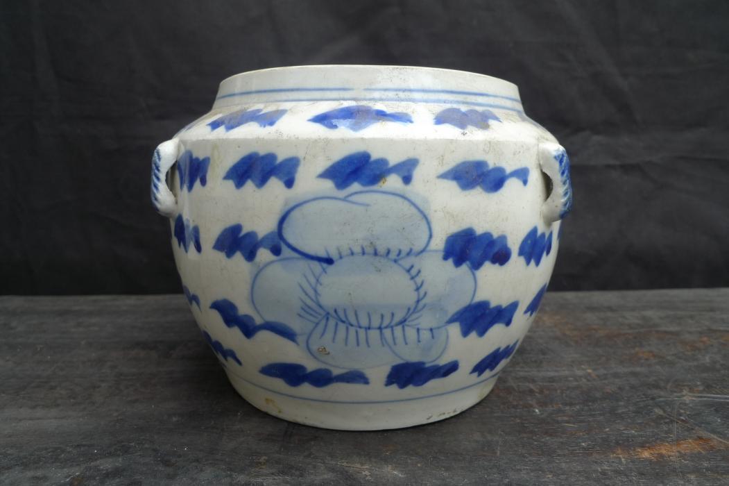 ANTIQUE KAMCHENG Blue White Sweet Pea Pattern Baba Nyonya Ceramic Porcelain