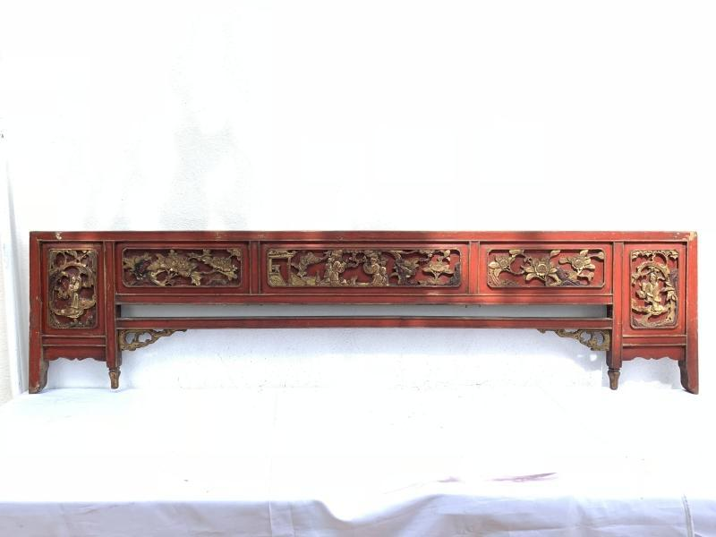 #5 ancient bed FAMILLE ROSE PANEL (Large 1880mm) CHINESE WOOD CARVING Peranakan Bridal Asia Culture Antique