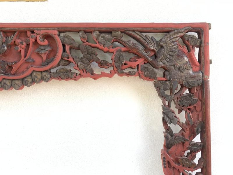 #3 ANIMAL AND FLORA (1180 x 1600 mm) SUPERSIZE Chinese antique Wood Panel Carving Asian Bed Art