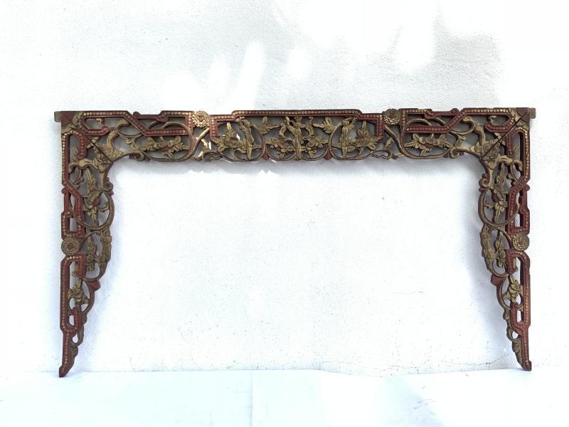 #2 LARGE ANTIQUE bed CHINESE (630 x 1120 mm) PANEL Red And Gilt Wood Asia Art Culture