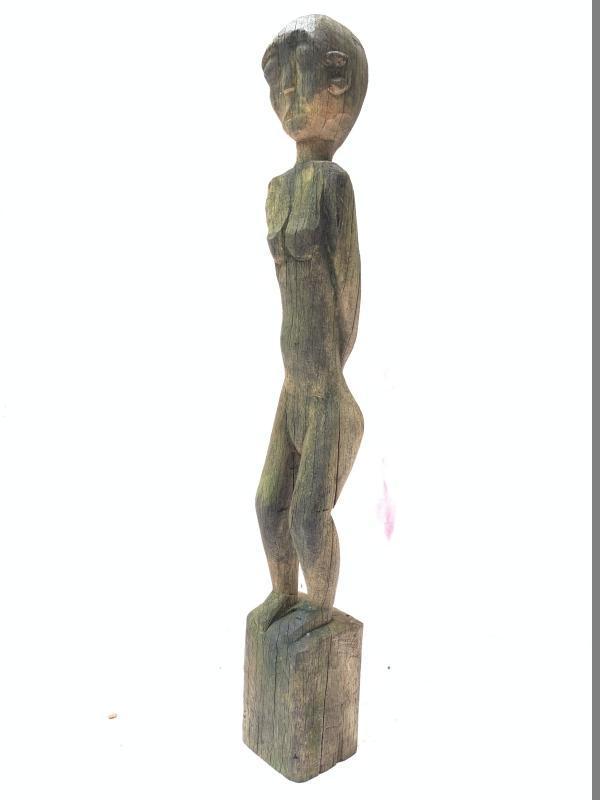 OLD 630mm DAYAK KAYAN STATUE Billion Wood Figure FEMALE Sculpture Native Borneo
