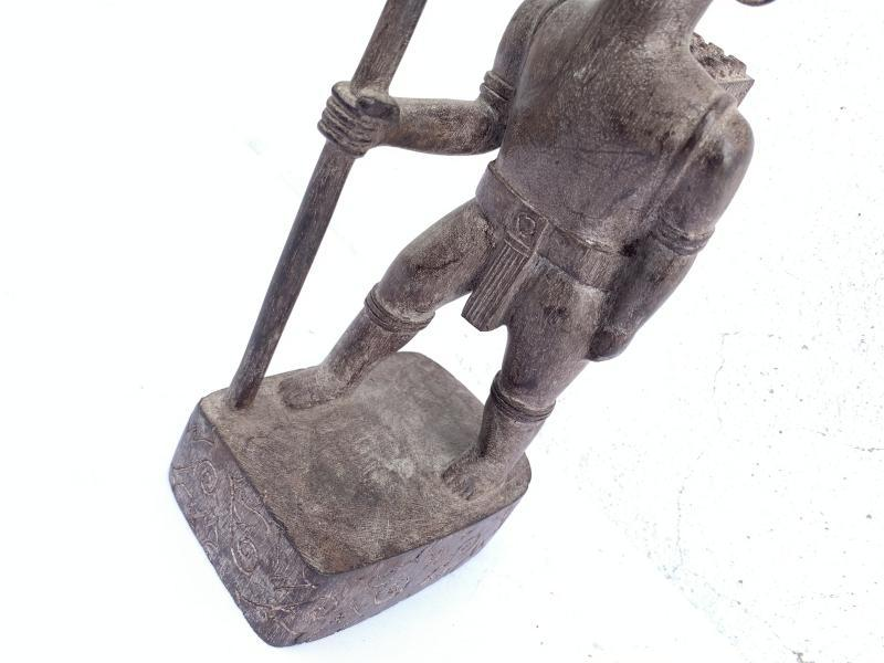 AUTHENTIC ANTIQUE Dayak Image Statue Sculpture Warrior Traditional Loincloth Hunter