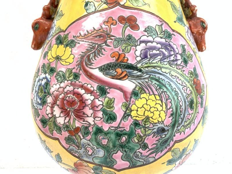 EGG SHAPE JAR 280mm VASE Phoenix & Peonies Flower Pot Pottery Nonya Nyonya Urn