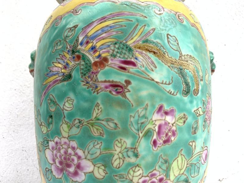 GREEN 330mm COVERED JAR Kamcheng Phoenix Nyonya Porcelain Pot Vase Pottery #4
