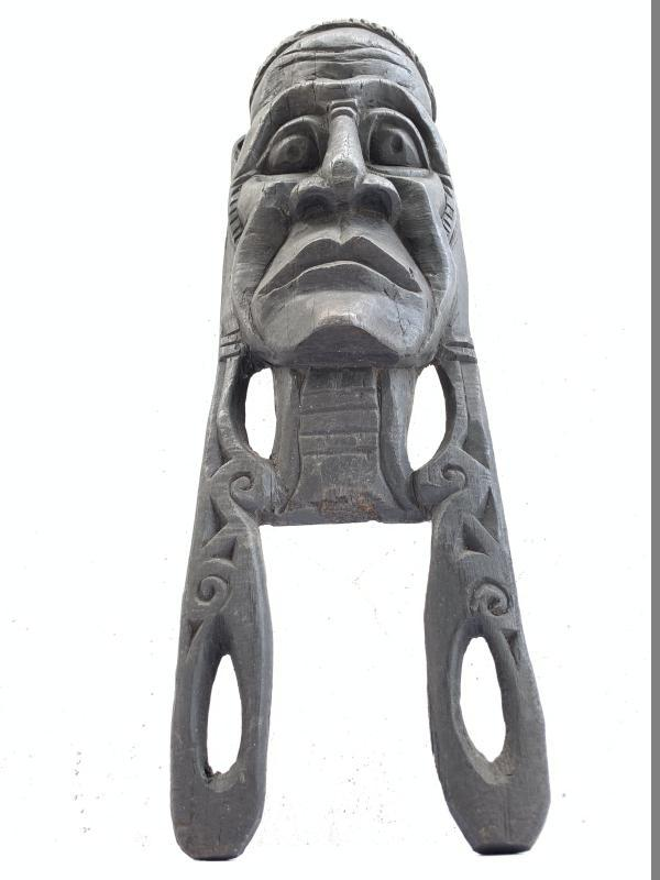 AGED OLD SCULPTURE / MASK 490mm IRONWOOD Penan Nomadic Face Borneo Wall Bar Pub