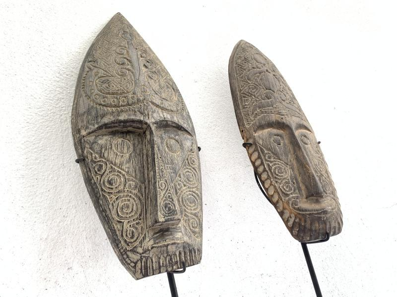 MALE & FEMALE 590mm NIAS NATIVE MASK Sculpture Figure Statue Carving Asia Asian