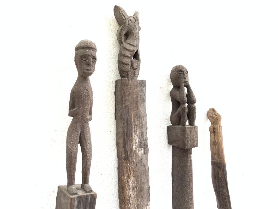 4 ANTIQUE AUTHENTIC 610-790mm GUARDIAN POLE Dayak Eroded Statue Primitive Figure