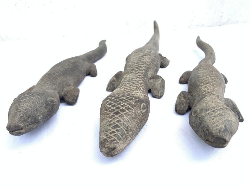 3 STATUE DAYAK PUTUSSIBAU Spiritual Guardian Plantation Reptile Animal Sculpture