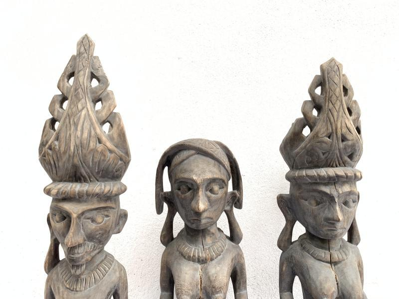 THREE NAKED Nias WARRIOR Panglima Statue Sculpture Image Icon Figure Sexy Breast