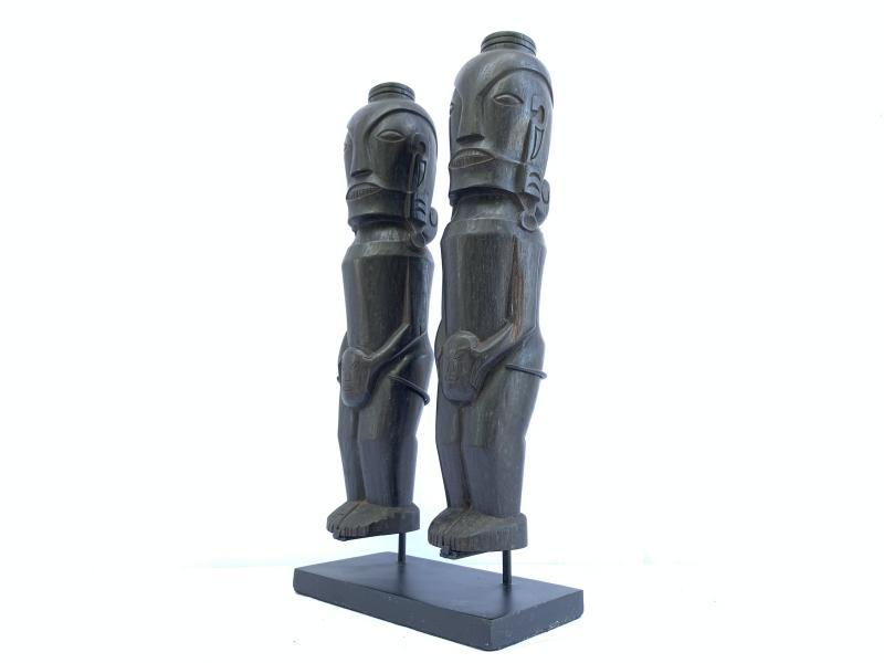 TWO 420mm BATAK WARRIOR & AMPUTATED HEAD STATUE Ancestral Facial Icon Indonesia