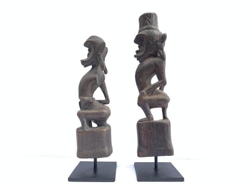 GUARDIANS OF THE AFTERWORLD 270mm Authentic DAYAK Melanau STATUE FIGURE SCULPTURE WOOD