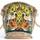 TRADITIONAL CHILD CARRIER 360x390mm Baby Bag Tribe Tribal Borneo Headhunter Artifact Beads Figure Statue Figurine