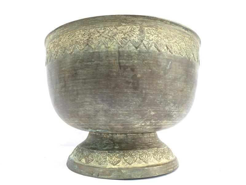 ANTIQUE BRASS BOWL 255mm Xxxl Cup Sulang Vintage Hand-forged Asian Pedestal