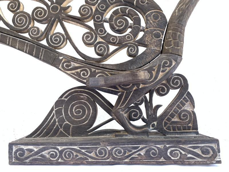 AMAZING SCULPTURE 850mm/33 SACRED HORNBILL BIRD Kenyalang Figure Statue Animal
