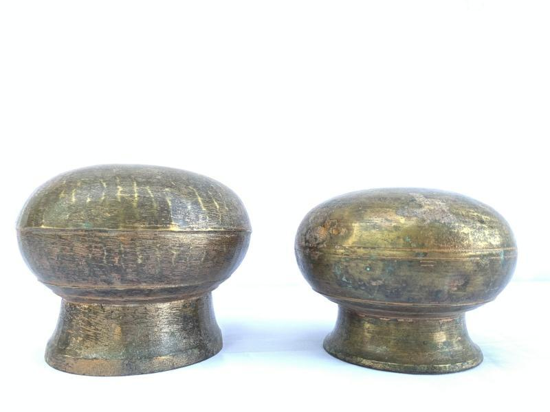 ONE PAIR Cooking POT Of Borneo 120mm Antique Brass Cooker Basin Couldron Metal