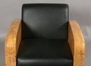 31.7398 Pair of Vintage Art Deco Burled Wood Club Chairs In Black Leather
