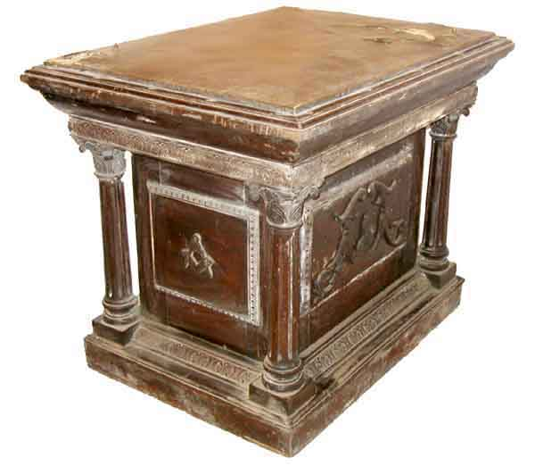 82.5066 Large Mahogany Pedestal with Columns & Leather Top