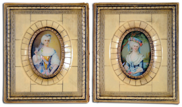 5018 Pair of 19th C. Mini Hand Painted Victorian Women Portraits