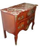 23.4694 Antique 19th C. Louis XV French Marble Top Inlaid Commode