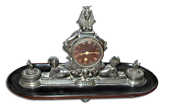 63.5492  Beautiful Black Marble & Bronze Eqyptian Revival Clock & Inkwell