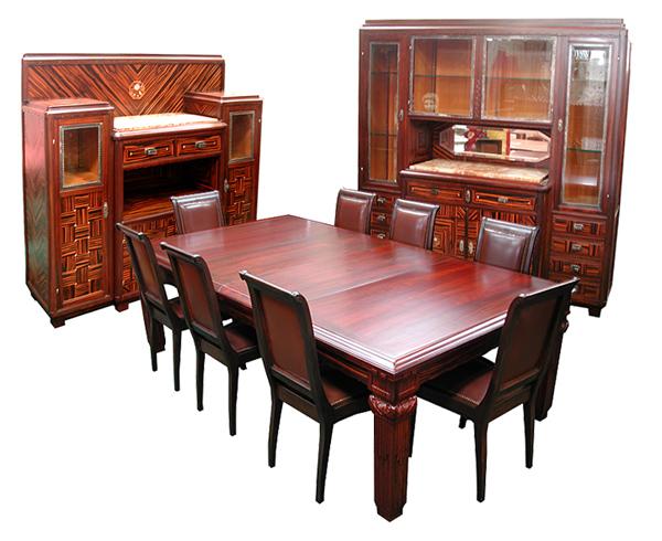 43.3035 Elegant Art Deco 11-Pc. Dining Suite in Ebony de Macassar