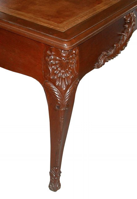 12.2258 Fabulous French Mahogany Writing Table with Gold Tooled Leather Top