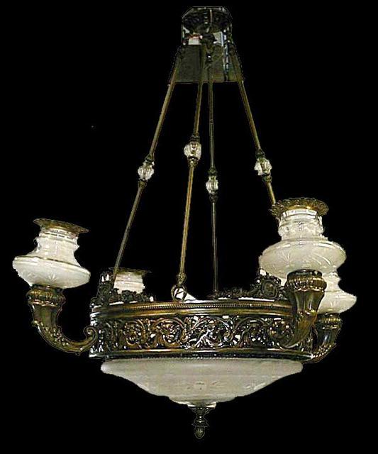 57.4628 5-Light Bronze & Cut Glass Chandelier
