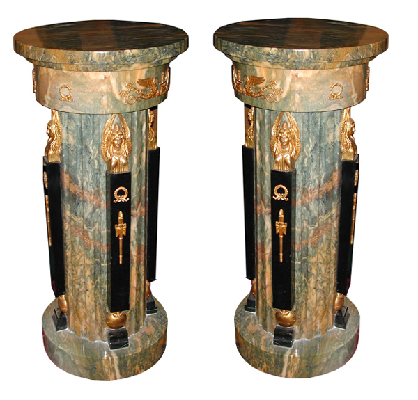 82.5624 Fabulous Pair of 19th C. French Empire Bronze & Marble Pedestals