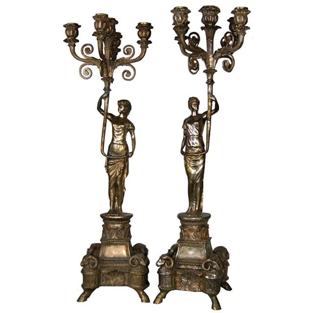 63.7193 Pair of Silver Over Bronze Female Figural 5-Arm Candelabras