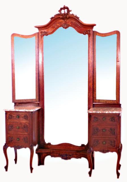 54.1875 Antique Louis XV Oak Chevel Mirror w/Dresser