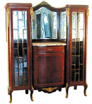 42.1826 3-Pc. Louis XVI Dining Suite with Ormolu Mounts, Inlay & Marble Tops