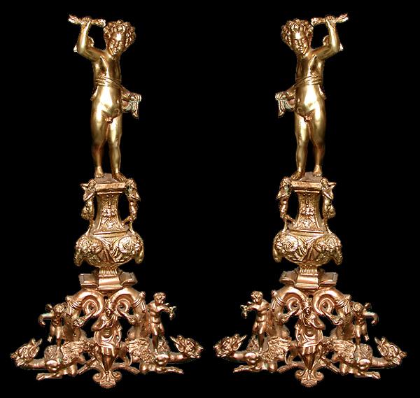 70.5777  Pair of Massive Cast Bronze Figural Andirons
