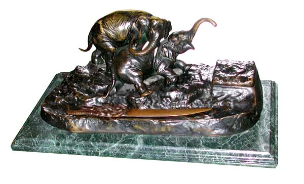 70.4506 Antique Bronze Elephant Inkwell on Verde Green Marble Base
