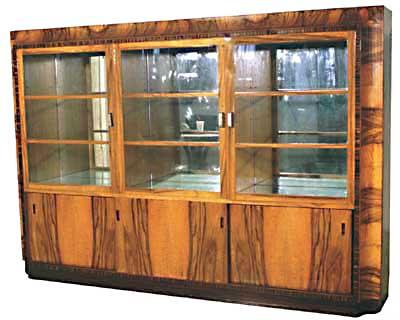 21.1408 Art Deco Book/Display Case w/Exotic Veneers of Brazilian Rosewood.