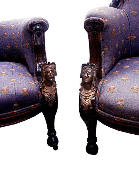 36.5855 2 pc. Pottier & Stymus Renaissance American Walnut Parlour Set