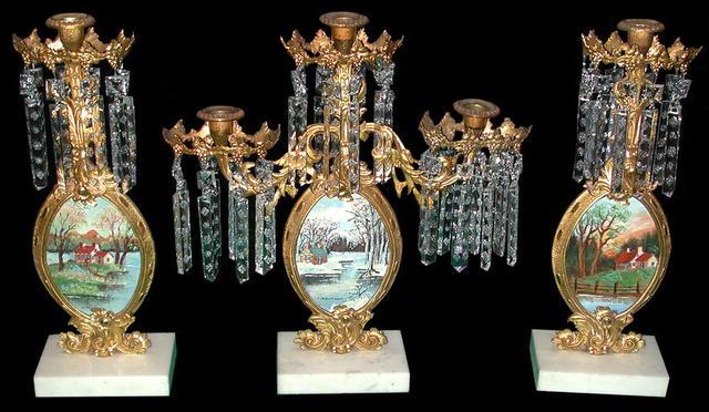 63.5857 Rare 3-Pc. Gilt Bronze American Girandole Set with Original Oil on Board Landscapes J. Harman