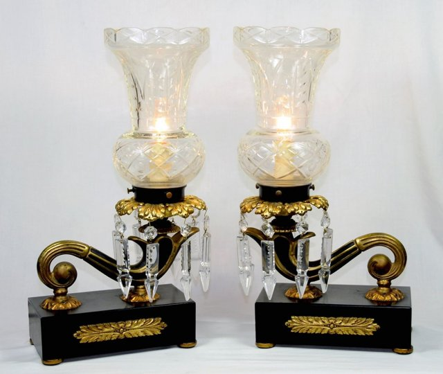 60.5860 Pair of Antique Bronze & Iron Lamps with Cut Glass Shades