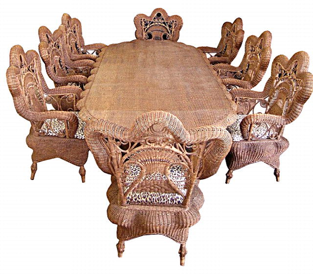 5878 Large Oval Wicker Table & 8 Armchairs c. 1920