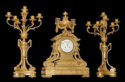 63.2617 French Dore Bronze 3-Pc. Neoclassical Clock Set