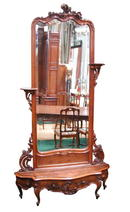 35.5143A 19th C. French Walnut Hall Mirror and Planter.