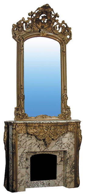 72.4458 Louis XVI Rococo mid 19th C. Marble and Gilt-Wood Mantle and Over mirror
