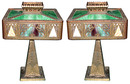 57.5916 Pair of Antique Cast Bronze & Iron Table Lamps with Stained Glass Filigree Shades