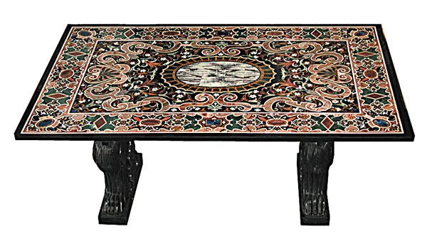 5922 Italian Pietre Dura Table Top with Winged Griffin Stone Base
